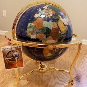 "Other - 13"" decorative blue gemstone globe with stand"